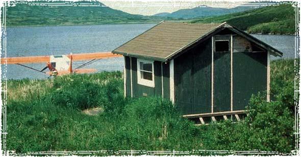 A tiny home next to a lake