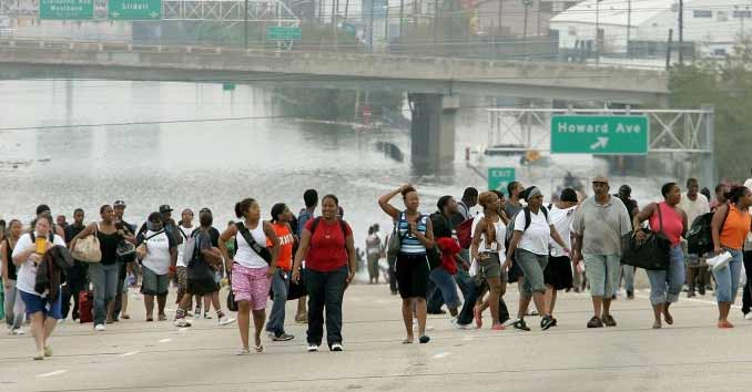Evacuating during a disaster by foot