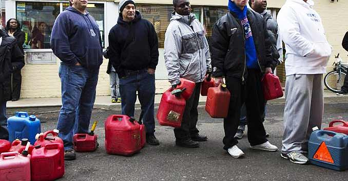 People trying to get gas during a disaster