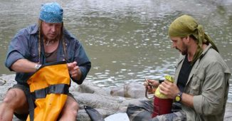 Cody Lundin and Joe Teti filming Dual Survival