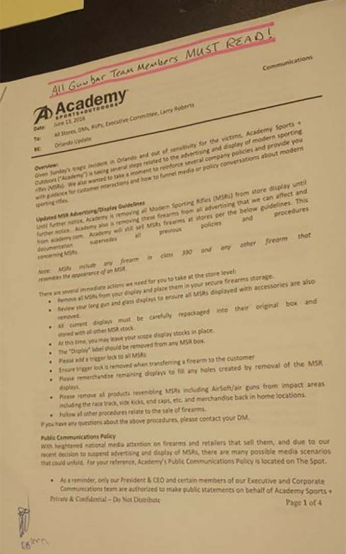 Academy Sports Memo about MSR Firearms