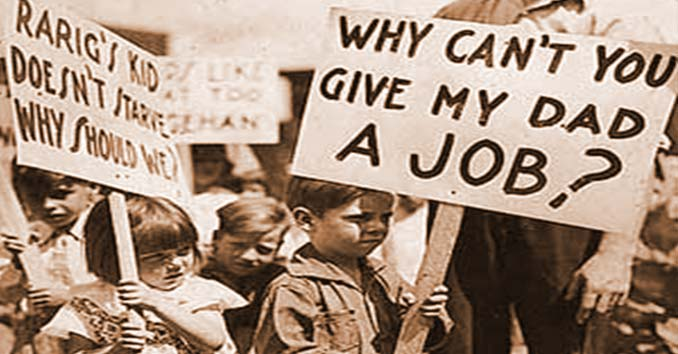 Kids holding Jobs sign during the Great Depression