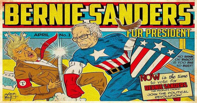 Politico Cartoon of Bernie/Captain American punching Trump/Hitler