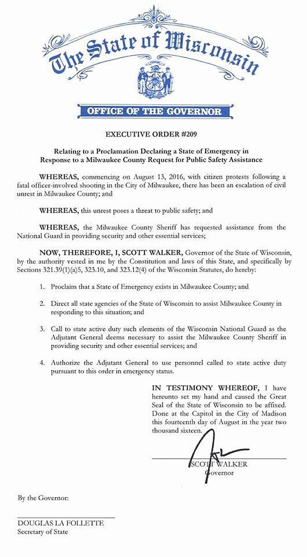 Wisconsin Executive Order 209