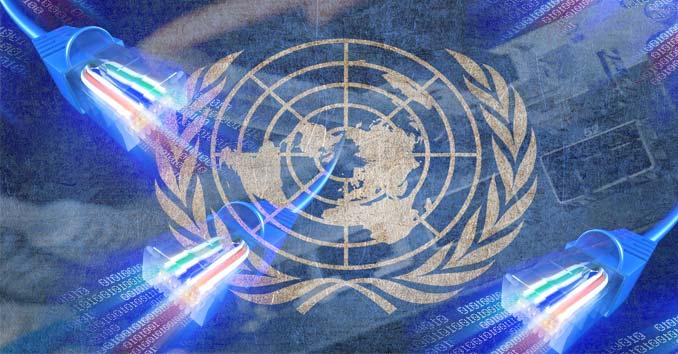 U.N. Logo over internet network systems