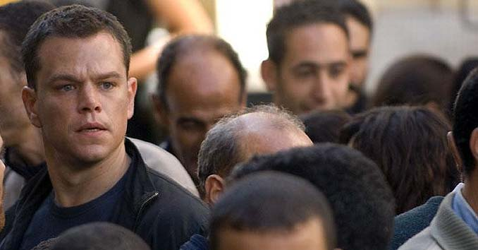Jason Bourne in a Crowd being aware of his surroundings