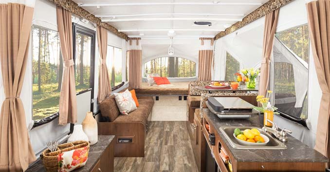 Inside the Popup Jayco Trailer