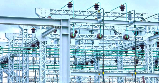 Transformers and Power Equipment at an Electrical Substation
