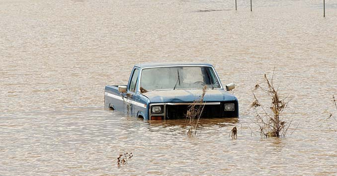 Truck Stuck in a Flood