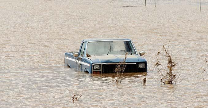 Truck Stuck in a Flood