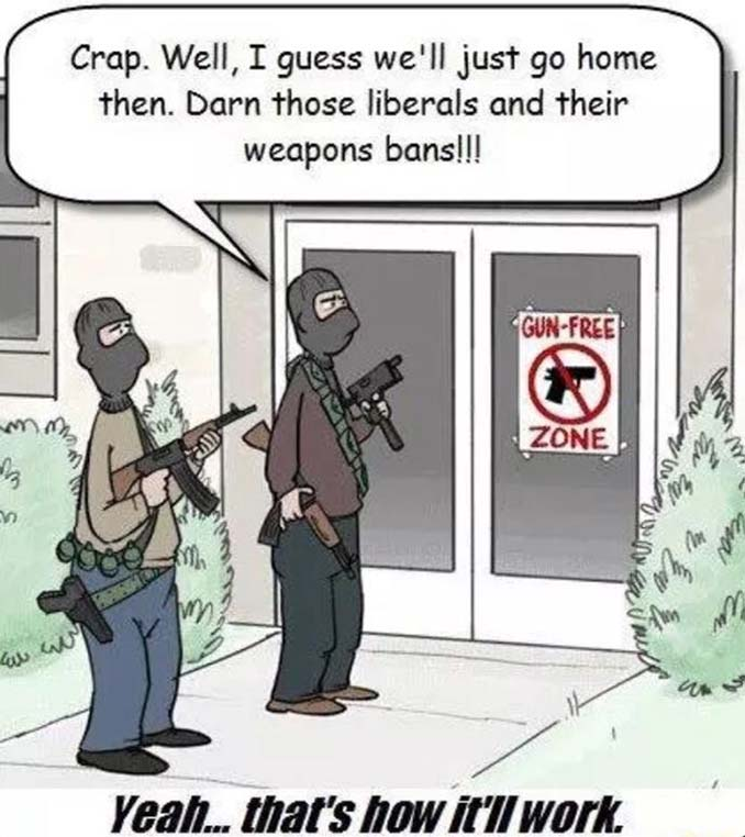 Gun Free Zone Sticker Cartoon