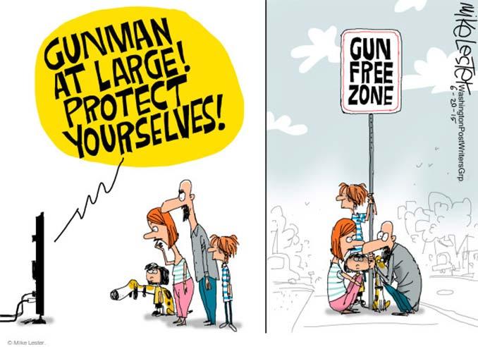 Protect yourself Gun Free Zone Cartoon