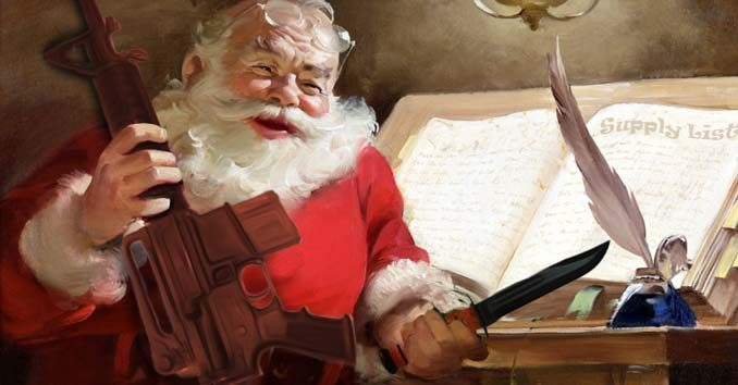 Santa holding Preparedness Gifts