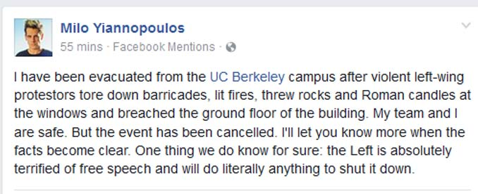Milo Yiannopoulos Statement