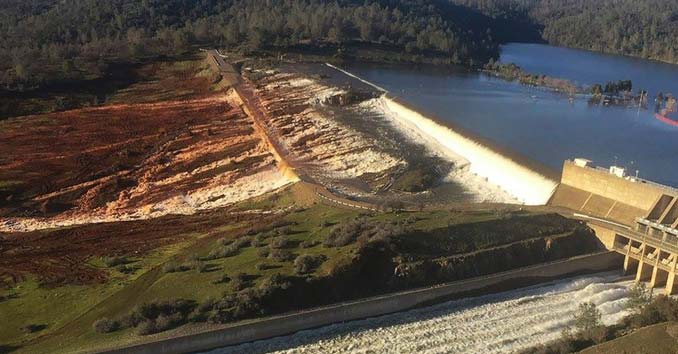 Water running over Emergency Spillway at Oroville Dam
