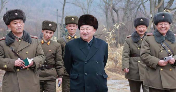 Kim Jong-Un with the North Koream Military