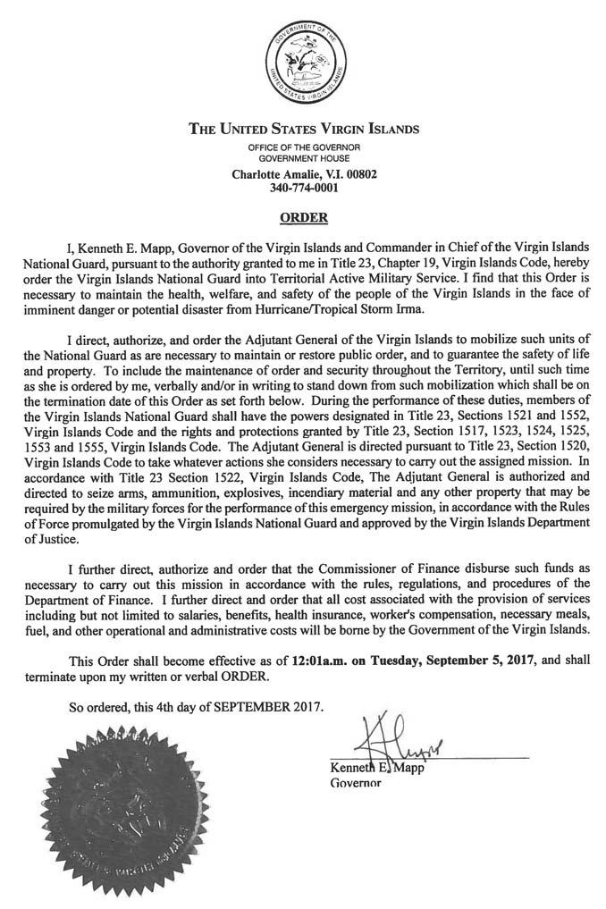 U.S. Virgin Island Executive Order to Seize Guns