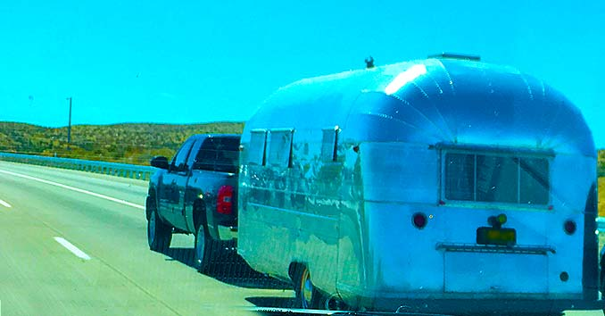 Airstream Trailer going down the Highway