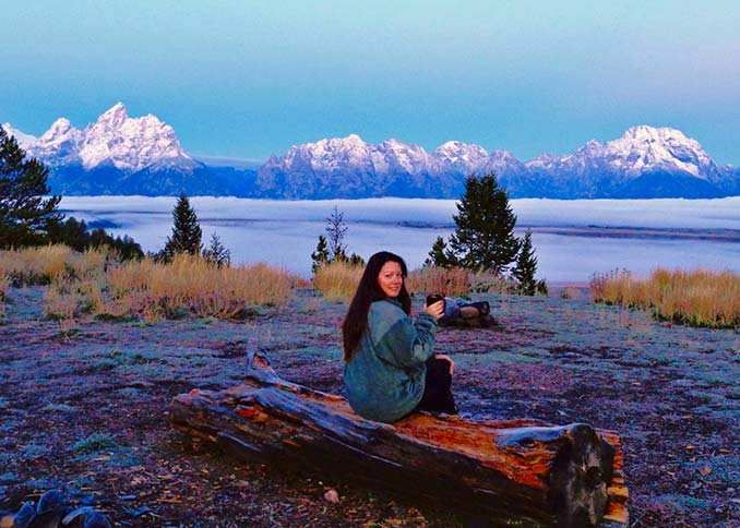 Drinking coffee at Grand Teton National Park