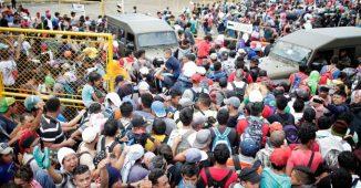 Caravan Breaking through Mexico's Southern Border