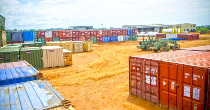 Yard full of Shipping Containers
