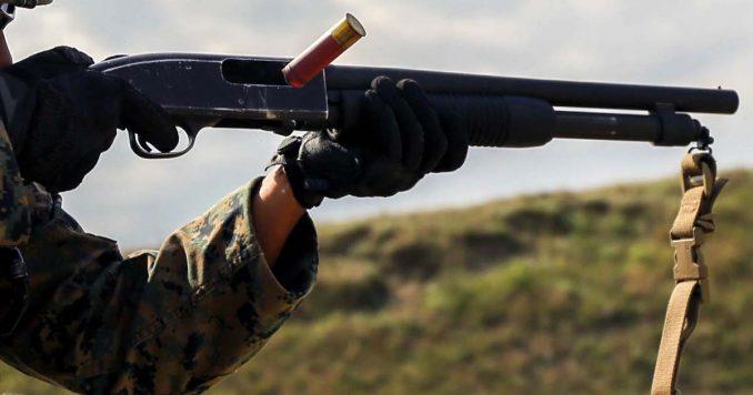 Firing a shotgun