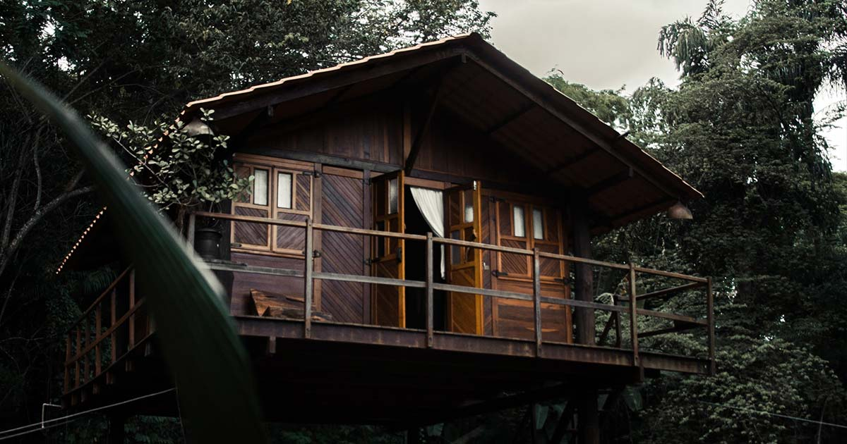 An off the grid cabin in the woods