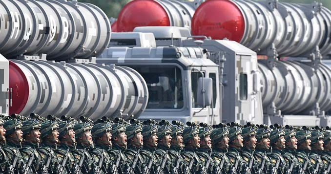 China special forces in front of HQ-9B missiles