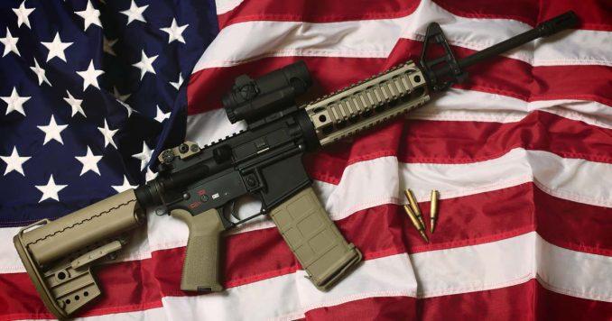 Gun on the flag