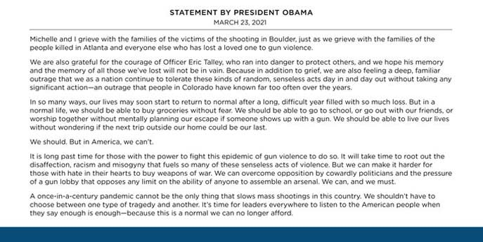 Obama Statement on Shooter