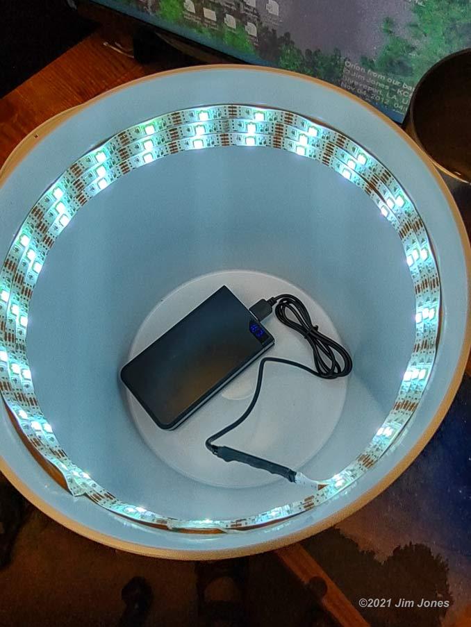 LED Light Strips inside of a camp Bucket Light
