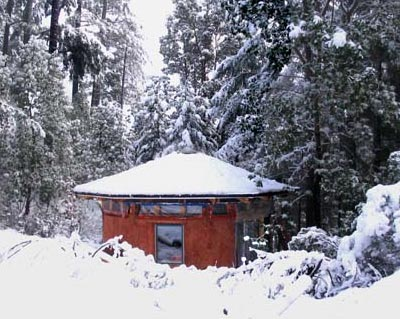 Straw Bale Home in the snow